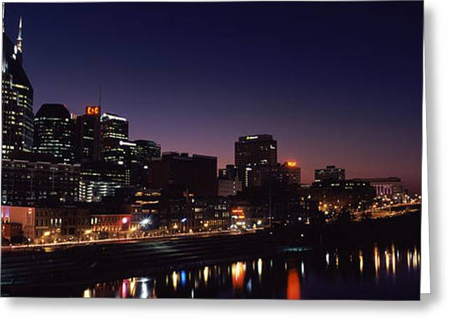 Tennessee River Greeting Cards - Skylines At Night Along Cumberland Greeting Card by Panoramic Images