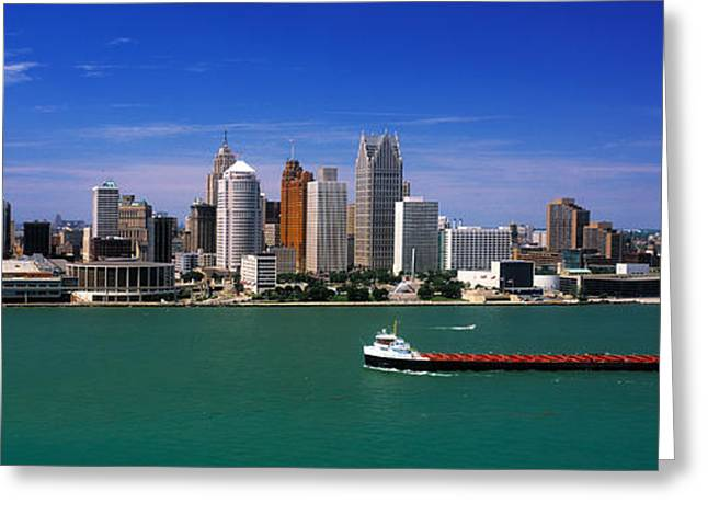 Building Exterior Photographs Greeting Cards - Skylines At The Waterfront, River Greeting Card by Panoramic Images