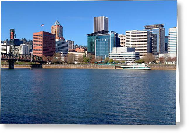 Willamette Greeting Cards - Skylines At The Waterfront, Willamette Greeting Card by Panoramic Images
