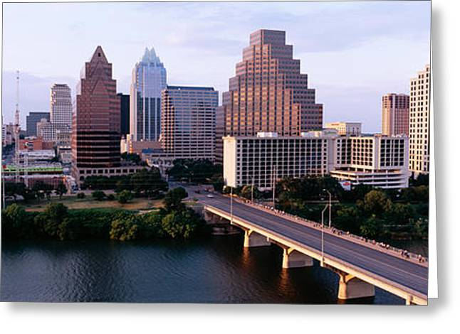 Lady Bird Greeting Cards - Skylines In A City, Lady Bird Lake Greeting Card by Panoramic Images