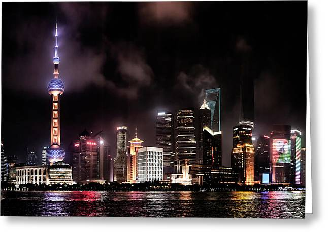 Skylines Lit At Night, Oriental Pearl Greeting Card by Panoramic Images