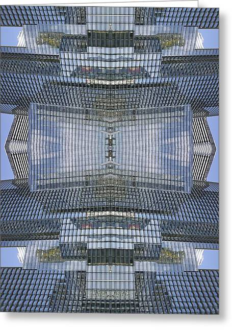 Glass Reflecting Greeting Cards - Skyscraper architecture Greeting Card by Science Photo Library