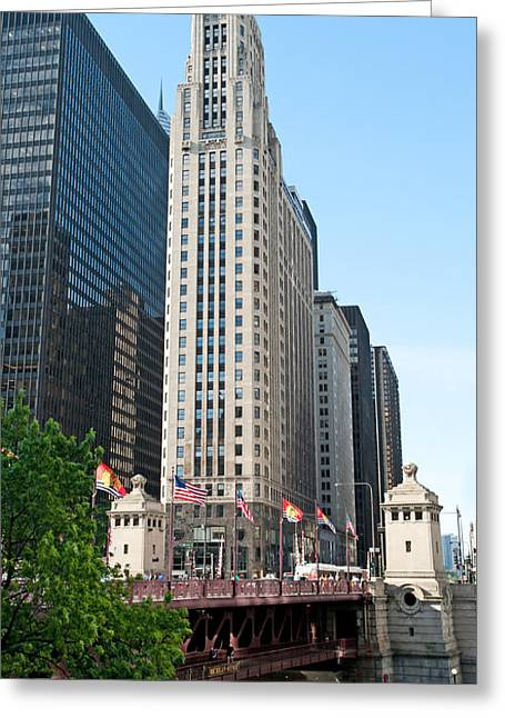 Magnificent Mile Greeting Cards - Skyscraper Blackhawks Flag On Bridge Greeting Card by Curtiss Messer
