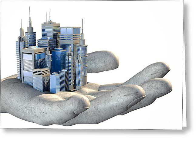 Debt Greeting Cards - Skyscraper City In The Palm Of A Hand Greeting Card by Allan Swart