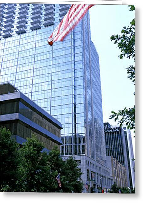 American Flag Photography Greeting Cards - Skyscraper In A City, Pnc Plaza Greeting Card by Panoramic Images