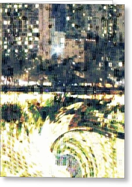 Interior Scene Mixed Media Greeting Cards - Skyscraper Reflection Painting Greeting Card by PainterArtist FIN