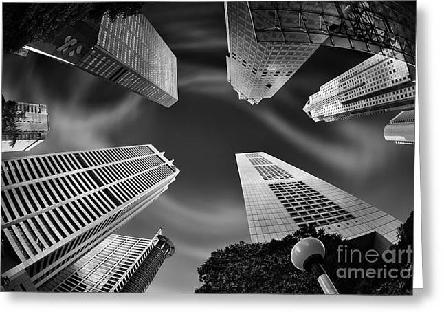 Fish Eye Lens Greeting Cards - Skyscraper Swirl Greeting Card by Rod McLean