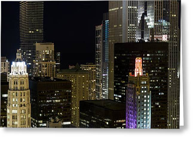 Downtown District Greeting Cards - Skyscrapers And Firework Display Greeting Card by Panoramic Images