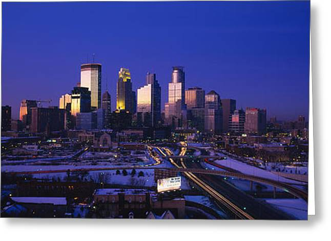 Hennepin Greeting Cards - Skyscrapers At Dusk, Minneapolis Greeting Card by Panoramic Images