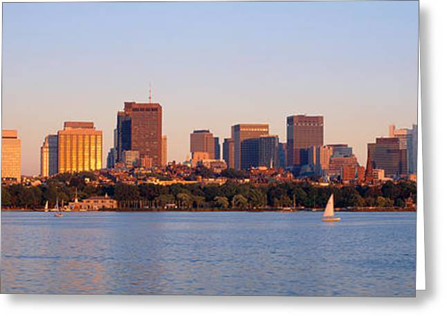Sailboat Images Greeting Cards - Skyscrapers At The Waterfront, Boston Greeting Card by Panoramic Images