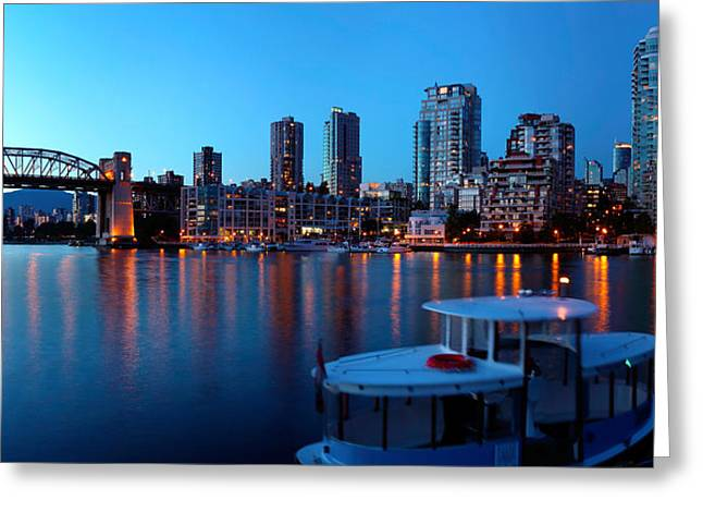 British Columbia Greeting Cards - Skyscrapers At The Waterfront, Burrard Greeting Card by Panoramic Images