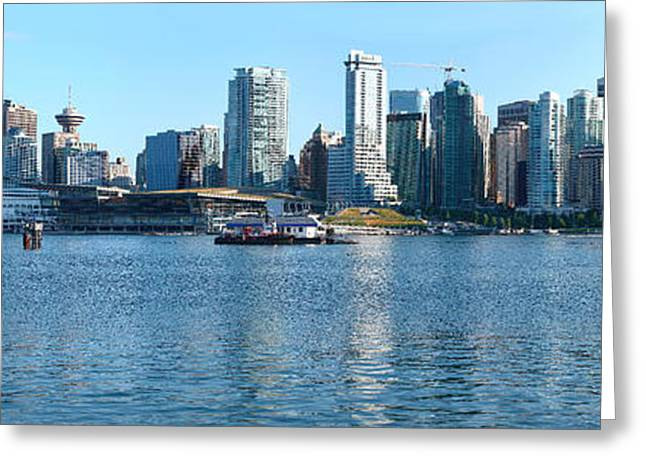 British Columbia Greeting Cards - Skyscrapers At The Waterfront, Canada Greeting Card by Panoramic Images