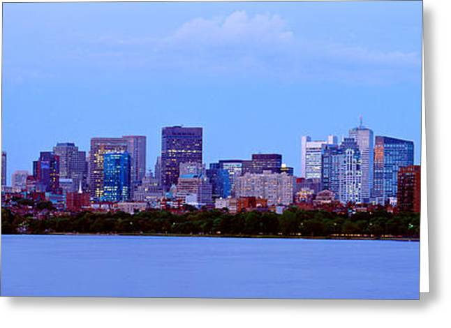 Charles River Photographs Greeting Cards - Skyscrapers At The Waterfront, Charles Greeting Card by Panoramic Images