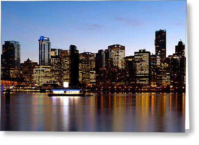 Stanley Park Greeting Cards - Skyscrapers At The Waterfront, Coal Greeting Card by Panoramic Images