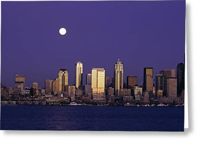 Locations Greeting Cards - Skyscrapers At The Waterfront, Elliott Greeting Card by Panoramic Images