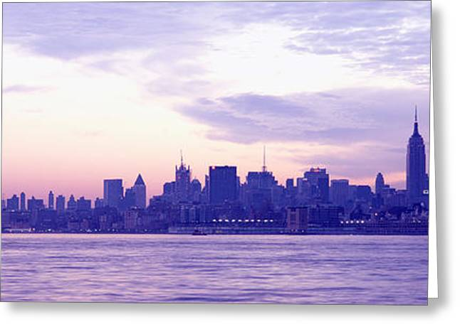 Lower Manhattan Greeting Cards - Skyscrapers At The Waterfront Greeting Card by Panoramic Images