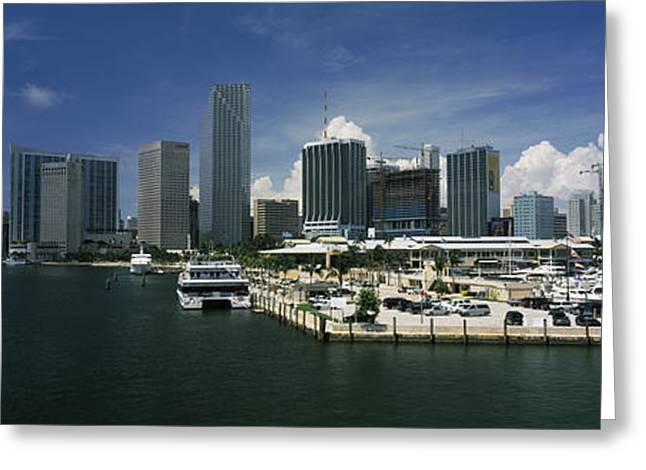 Biscayne Bay Greeting Cards - Skyscrapers At The Waterfront Viewed Greeting Card by Panoramic Images