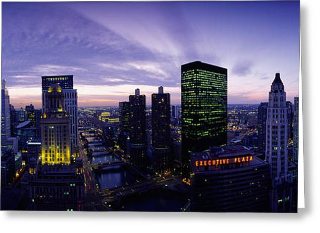 Skylight Greeting Cards - Skyscrapers, Chicago, Illinois, Usa Greeting Card by Panoramic Images