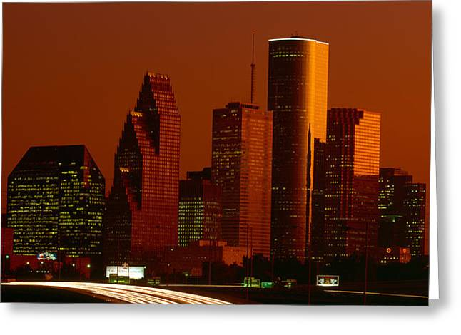 Headlight Greeting Cards - Skyscrapers In A City At Sunset Greeting Card by Panoramic Images