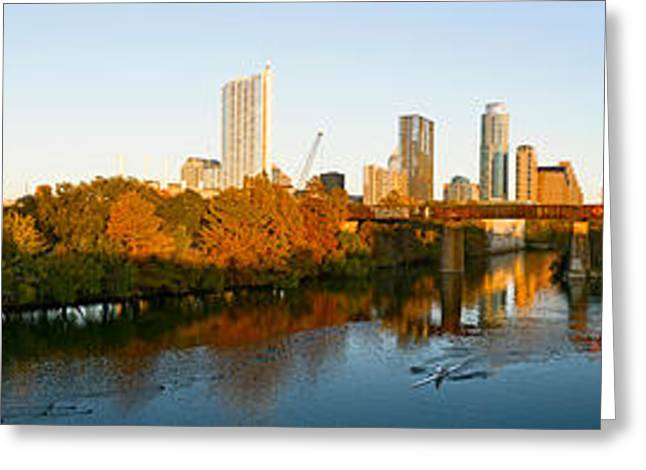 Austin Building Greeting Cards - Skyscrapers In A City, Lamar Street Greeting Card by Panoramic Images