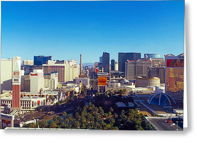 Tourist Resort Greeting Cards - Skyscrapers In A City, Las Vegas Greeting Card by Panoramic Images