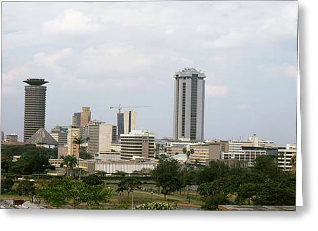 Overcast Day Greeting Cards - Skyscrapers In A City, Nairobi, Kenya Greeting Card by Panoramic Images