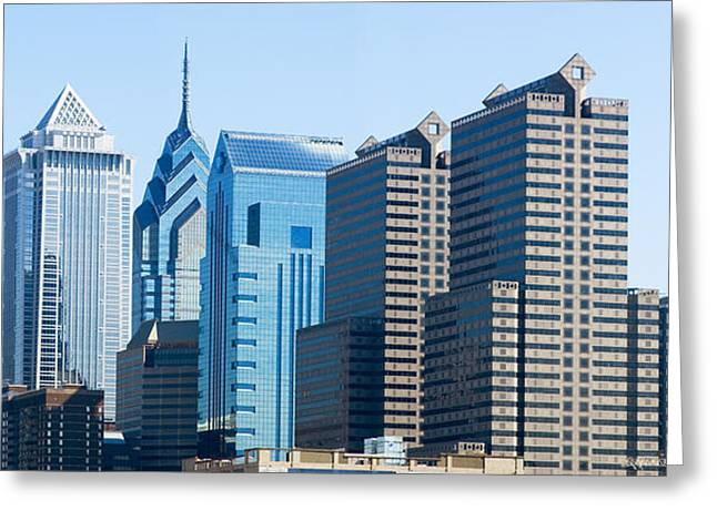 Locations Greeting Cards - Skyscrapers In A City, Philadelphia Greeting Card by Panoramic Images