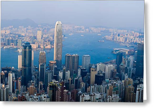 Kowloon Greeting Cards - Skyscrapers In A City, Victoria Greeting Card by Panoramic Images