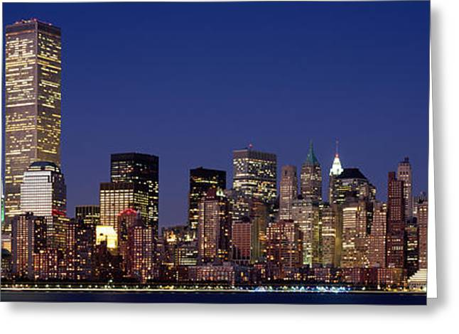 Modern Photographs Greeting Cards - Skyscrapers In A City, World Trade Greeting Card by Panoramic Images