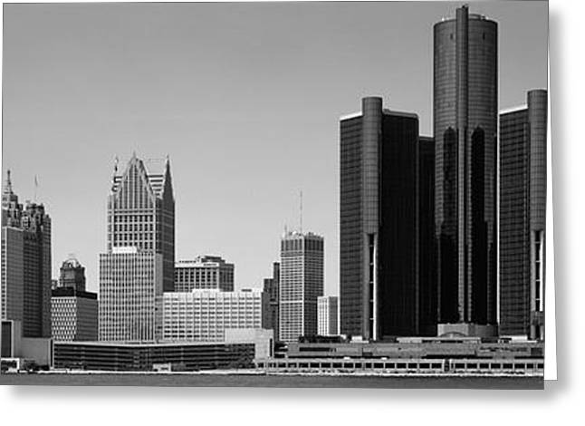 Detroit Photography Greeting Cards - Skyscrapers In The City, Detroit Greeting Card by Panoramic Images