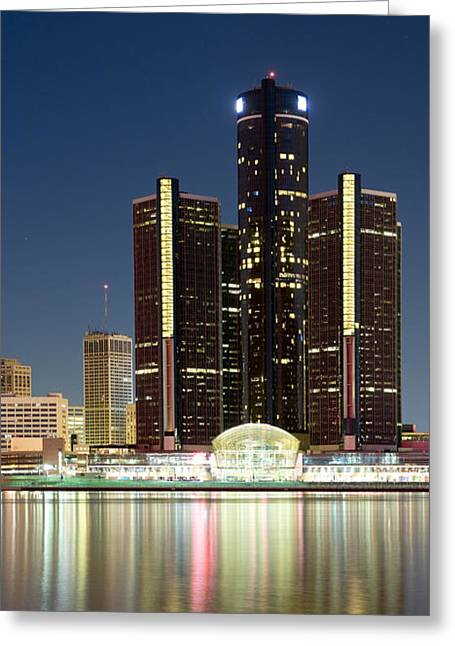 Detroit Photography Greeting Cards - Skyscrapers Lit Up At Dusk, Renaissance Greeting Card by Panoramic Images