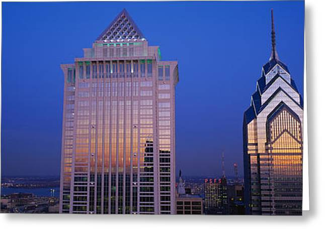 Mellon Greeting Cards - Skyscrapers Lit Up At Night, Mellon Greeting Card by Panoramic Images