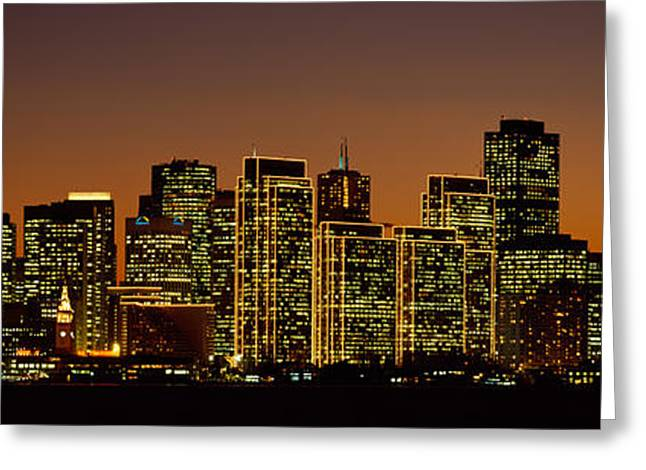 Night Scenes Greeting Cards - Skyscrapers Lit Up At Night, San Greeting Card by Panoramic Images