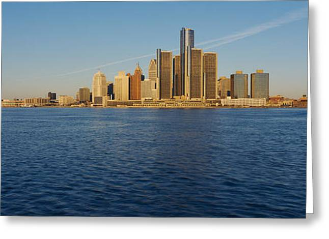 Detroit Photography Greeting Cards - Skyscrapers On The Waterfront, Detroit Greeting Card by Panoramic Images