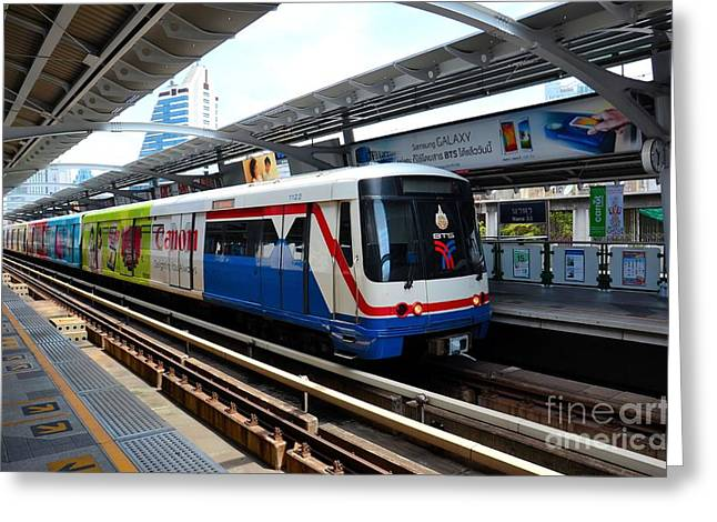 Skytrain Carriage Metro Railway At Nana Station Bangkok Thailand Greeting Card by Imran Ahmed