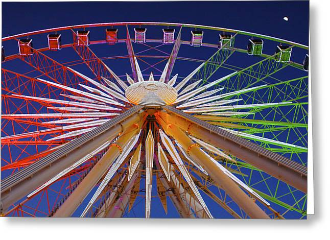 Leasing Greeting Cards - Skyview Atlanta Ferris Wheel and Moon Greeting Card by Jim Edwards