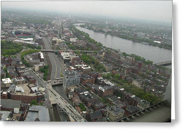 Fenway Park Greeting Cards - Skyview of Bostons Back Bay Greeting Card by Linda Ryan