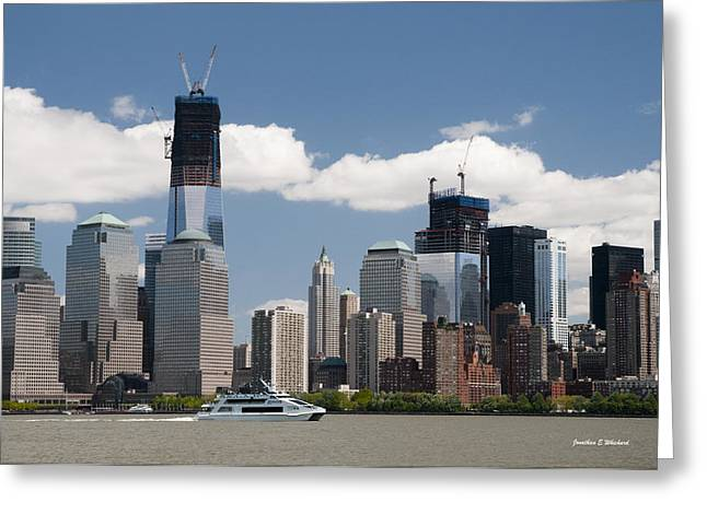 Wtc 11 Greeting Cards - SKYWARD PROGRESS Freedom Tower WTC 1 New York City Greeting Card by Jonathan E Whichard