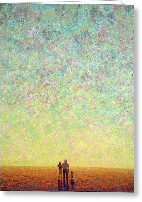 Deep Space Greeting Cards - Skywatching in a Painting Greeting Card by James W Johnson