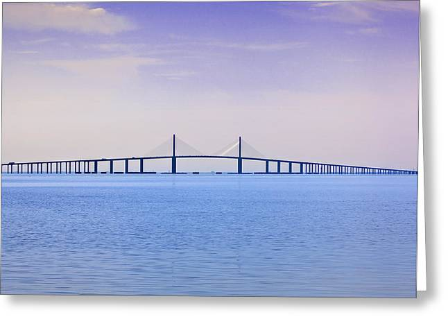 Florida Bridge Greeting Cards - Skyway Greeting Card by Al Hurley