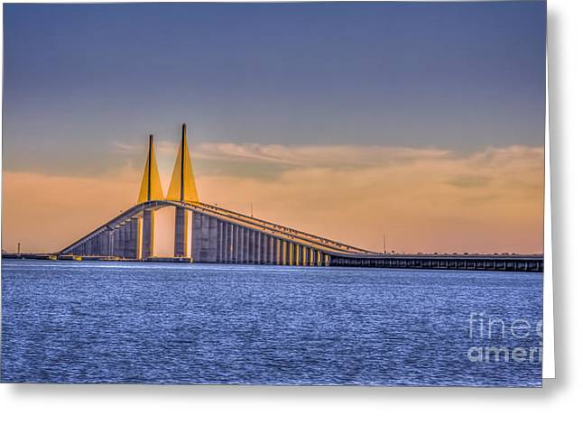 Tampa Bay Greeting Cards - Skyway Bridge Greeting Card by Marvin Spates