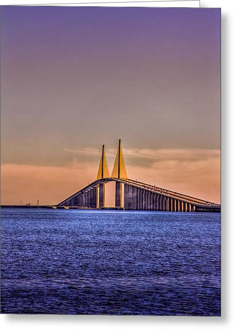 Florida Bridge Greeting Cards - Skyway Sunset Greeting Card by Marvin Spates