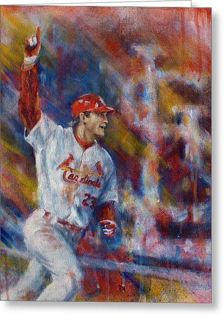 Athletes Greeting Cards - Freese Game 6 Greeting Card by Josh Hertzenberg