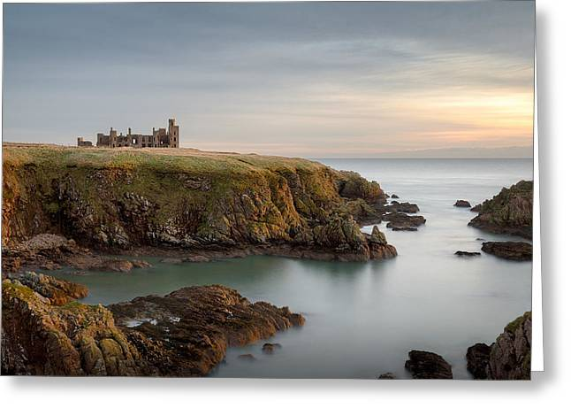 North Sea Greeting Cards - Slains Castle Sunrise Greeting Card by Dave Bowman