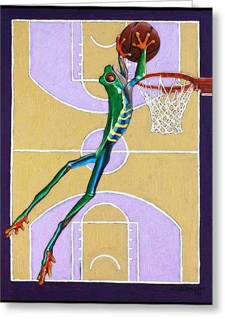 Dunking Paintings Greeting Cards - Slam Dunk Greeting Card by John Lautermilch