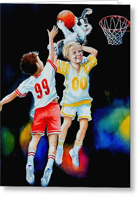 Kids Sports Paintings Greeting Cards - Slam Dunkin Dog Greeting Card by Hanne Lore Koehler