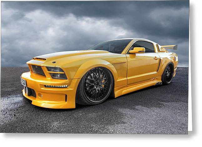 Car Racer Greeting Cards - Slammer - Mustang GTR Greeting Card by Gill Billington