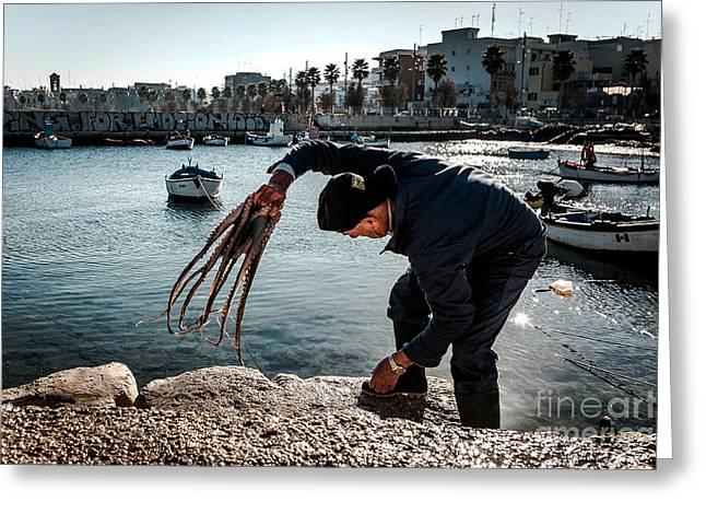 Slam Greeting Cards - Slamming the octopus Greeting Card by Sabino Parente