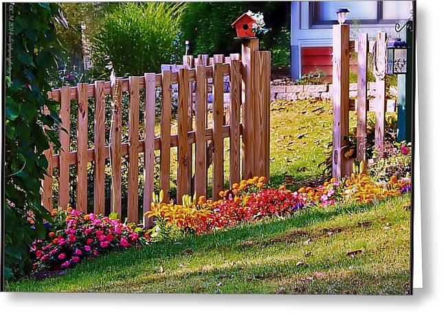 Flowers On A Fence Greeting Cards - Slanted Garden Greeting Card by Catherine Melvin