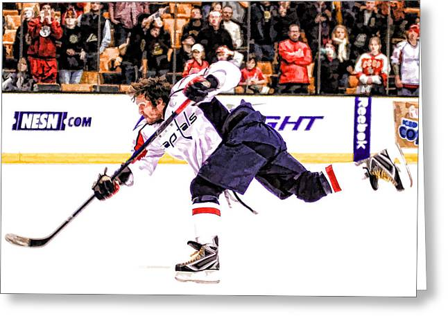 Alex Ovechkin Greeting Cards - Slapshot Greeting Card by Jerry Coli
